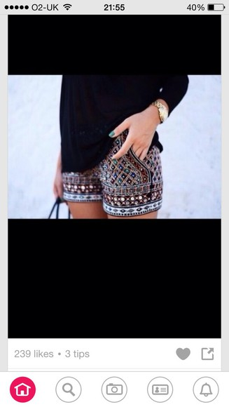 embellished black shorts colourful pattern