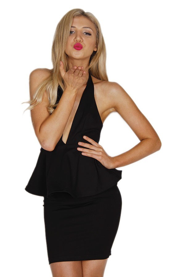 Black Plunge Neck Halter Dress