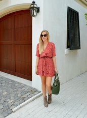 fash boulevard,blogger,dress,sunglasses,jewels,red dress,mini dress,ankle boots,green bag,summer dress,printed dress,short dress,wrap dress,handbag,brown sunglasses,boots,nude boots