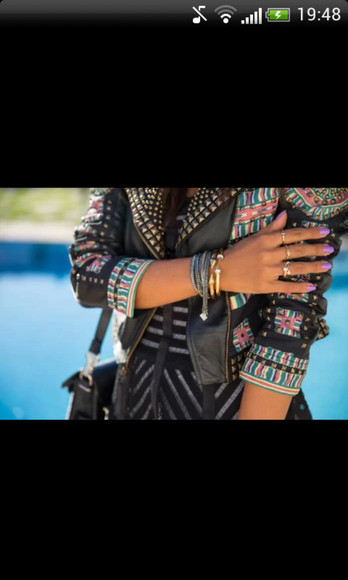 jacket black studs spikes spiked leather jacket leather jacket pattern boho aztec print rock