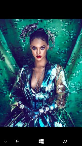 dress colorful fashion vibe fashion make-up rihanna rihanna style teal silver gloves glitter eyeliner red lipstick ponytail necklace magazine classy and fabulous
