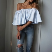croptopia,blogger,top,jeans,jewels,blouse,ruffled top,off the shoulder top,blue top,bardot top
