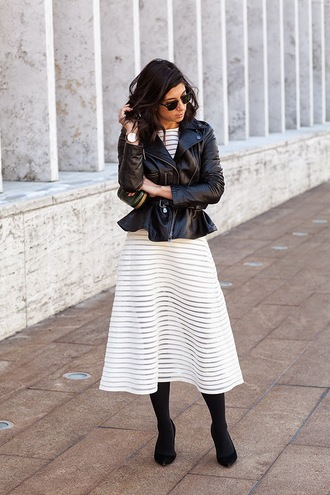 this time tomorrow blogger leather jacket white dress striped dress black and white