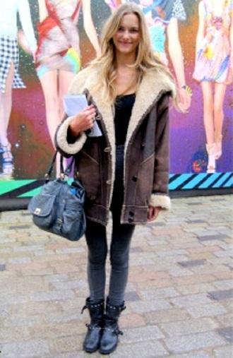 brown jacket coat shearling jacket