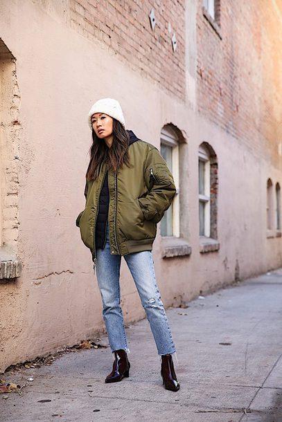 jacket tumblr khaki bomber jacket bomber jacket army green jacket beanie denim jeans blue jeans boots ankle boots
