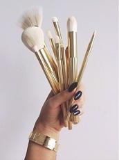 make-up,makeup brushes,gold