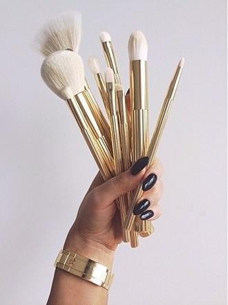 make-up makeup brushes gold