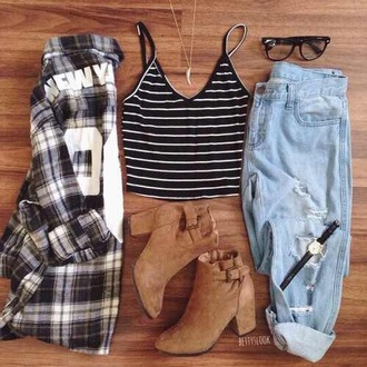 jeans denim jean black and white plaid shirt striped shirt style cardigan sunglasses shoes shirt