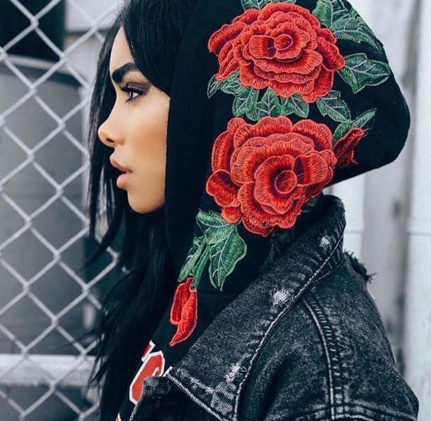 sweater jacket hoodie denim jacket rose floral roses black sweat floral sweater black floral sweater red black sweatshirt