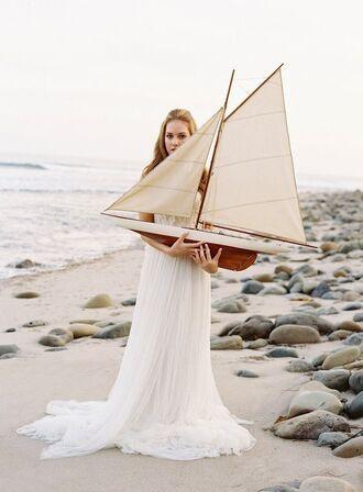 dress wedding dress tulle dress wedding beach wedding romantic beach wedding dress