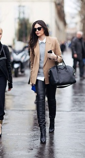 coat,beige jacket,grey sweater,black jeans,leather pants,jacket,white shirt,leather boots,black sunglasses,white collared shirt,black leather pants,black leather bootie,knee high boots,black knee high boots,givenchy,givenchy bag,black tote,office outfits,bag