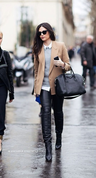 coat beige jacket grey sweater black jeans leather pants jacket white shirt leather boots black sunglasses white collared shirt black leather pants black leather bootie knee high boots black knee high boots givenchy givenchy bag black tote office outfits bag
