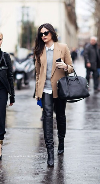 coat beige jacket grey sweater black jeans leather pants jacket white shirt leather boots black sunglasses white collared shirt black leather pants black leather bootie knee high boots black knee high boots givenchy givenchy bag black tote office outfits office outfits bag