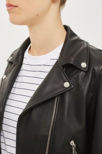 Topshop jacket biker jacket leather black