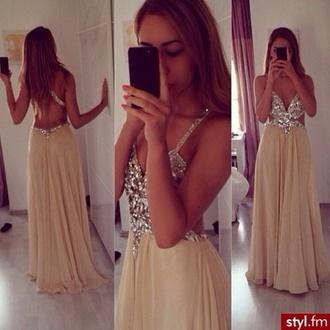 dress beige dress diamonds prom ! prom dress prom 2014 cut-out open back dresses ball gown dress evening dress starry night