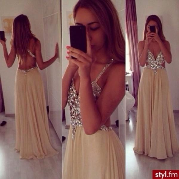 dress beige dress diamonds prom ! prom dress prom cut-out open back dresses prom dress ball gown dress evening dress starry night