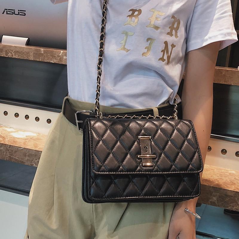 Black Classy Flap Crossbody Quilted Bag Fashion Chain Bag