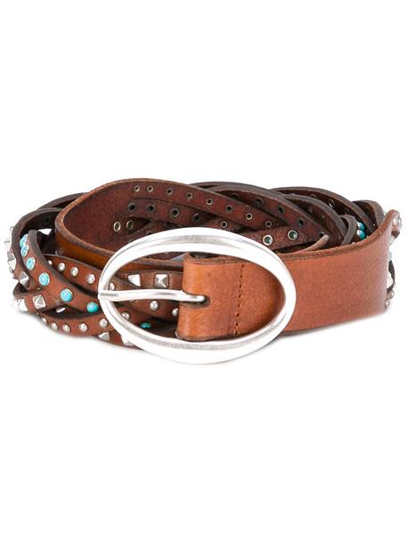 studded belt studded braided belt brown