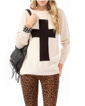 Fashion Cross Printed Knit Sweater @ Sweaters,Womens Sweater ...