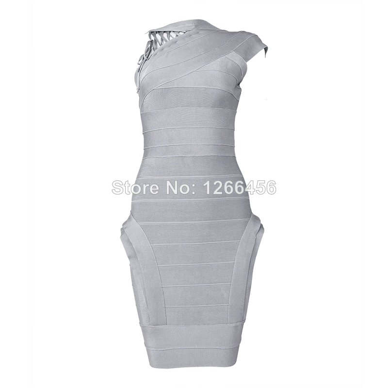 Aliexpress.com : Buy 2014 Lace trim, irregular collar design Ladies Sexy Light Grey Backless in Deep V Bandage Dress One Shoulder Cocktail Dress from Reliable dress goods suppliers on Lady Go Fashion Shop