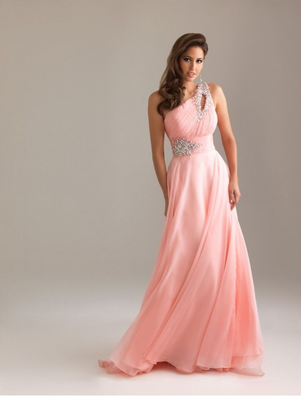 Chiffon One-Shoulder Strap A-Line Prom Dress with Rouched Keyhole Bodice - Special Occasion - RainingBlossoms