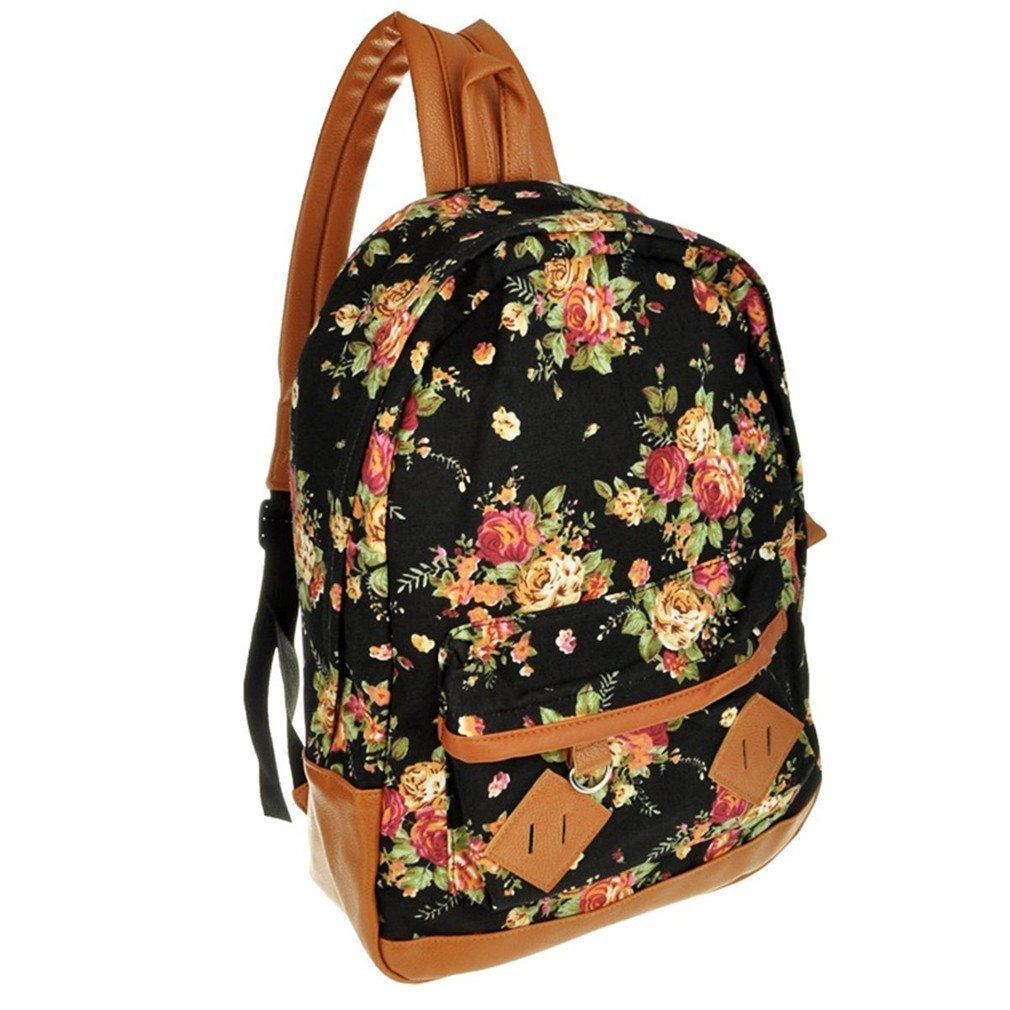 Black Canvas Rucksack Vintage Flower Backpack School Campus Book Bag: Amazon.co.uk: Luggage