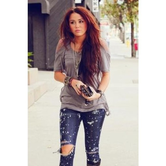 miley cyrus top jeans