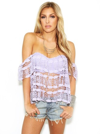 top summer girly cute lacee lace blouse shirt crochet offshoulder