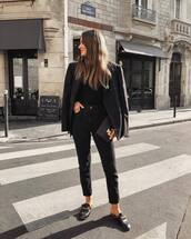 bag,crocodile,clutch,mules,jeans,black jeans,cropped jeans,black blouse,black blazer
