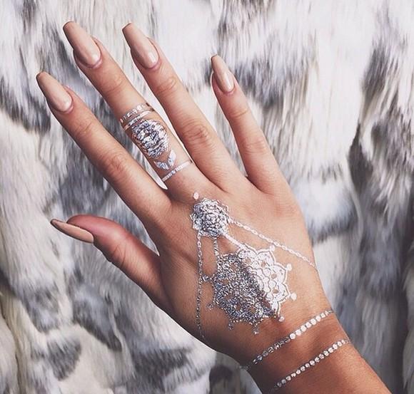 accessories jewels silver tattoo hand jewelry cute nail polish