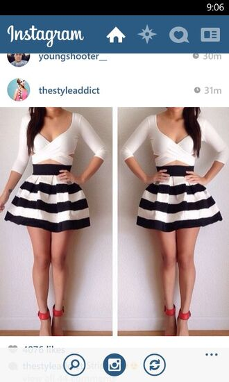 striped skirt black and white skirt