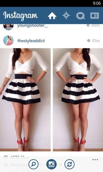 striped skirt black and white skirt
