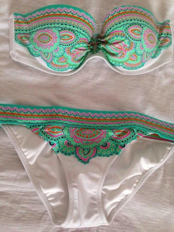 swimwear tribal pattern mint pink orange bikini tribal pattern white swimwear print summer