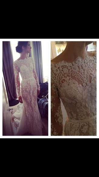 dress fishtail wedding dress white dress lace dress