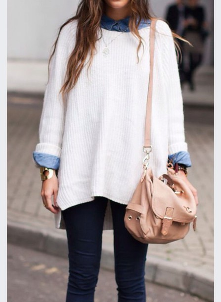 sweater cream sweater denim shirt