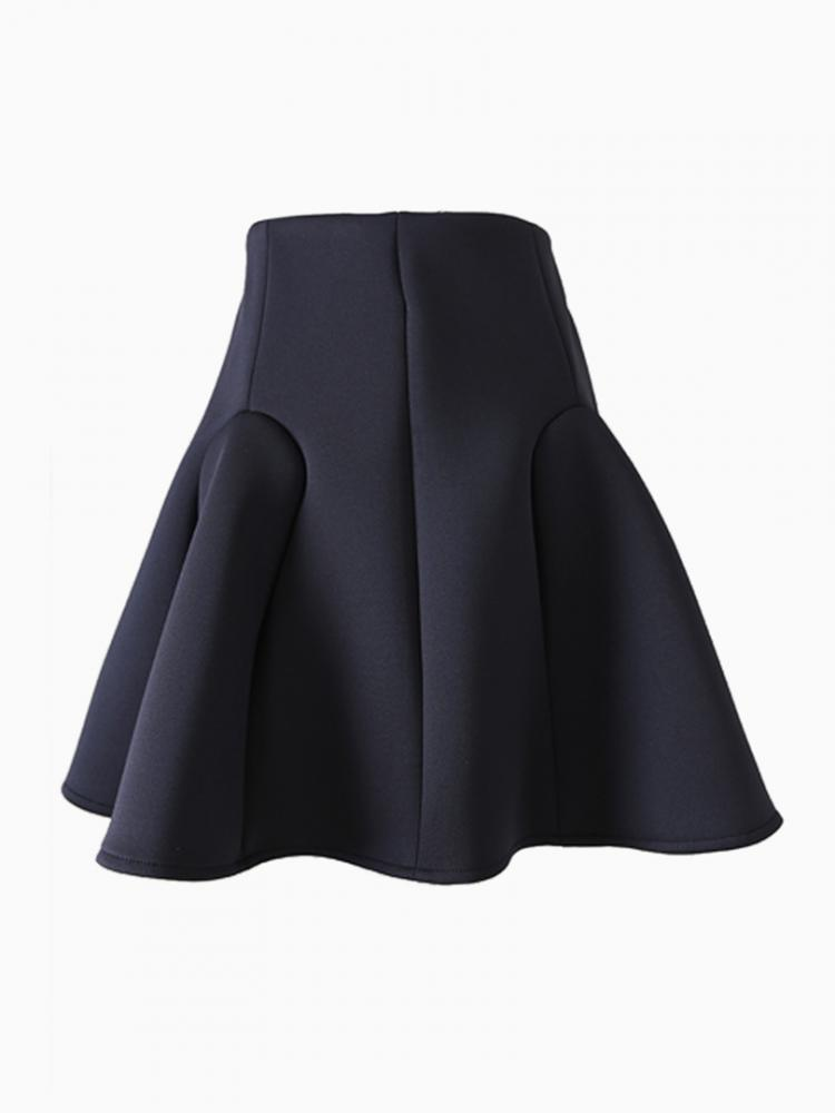 Black Textured Flare Skirt | Choies