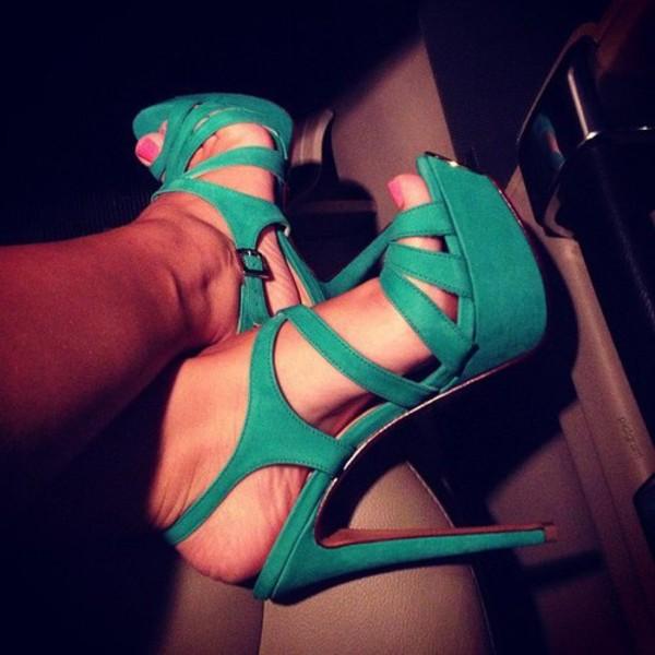 Green gladiator style cross straps ultra high heels female sandals ...