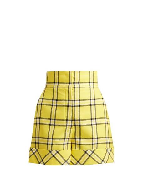 shorts high waisted high wool yellow
