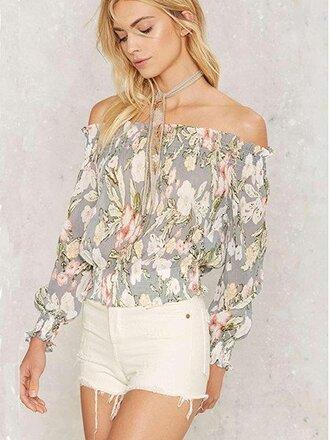top chiclook closet floral off the shoulder boho boho chic vintage pastel indie summer denim shorts back to school tumblr instagram