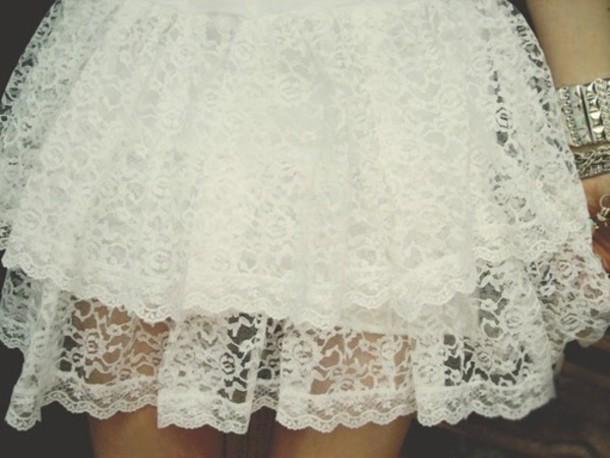 dress cute girly see through skirt white boho