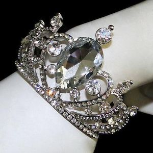 Vtg Style Bridal Tiara Crown Bracelet Rhinestone Crystal Drop Clear Bangle Cuff | eBay