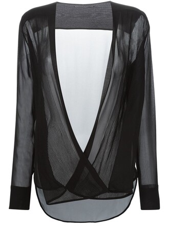 blouse pleated women black silk top
