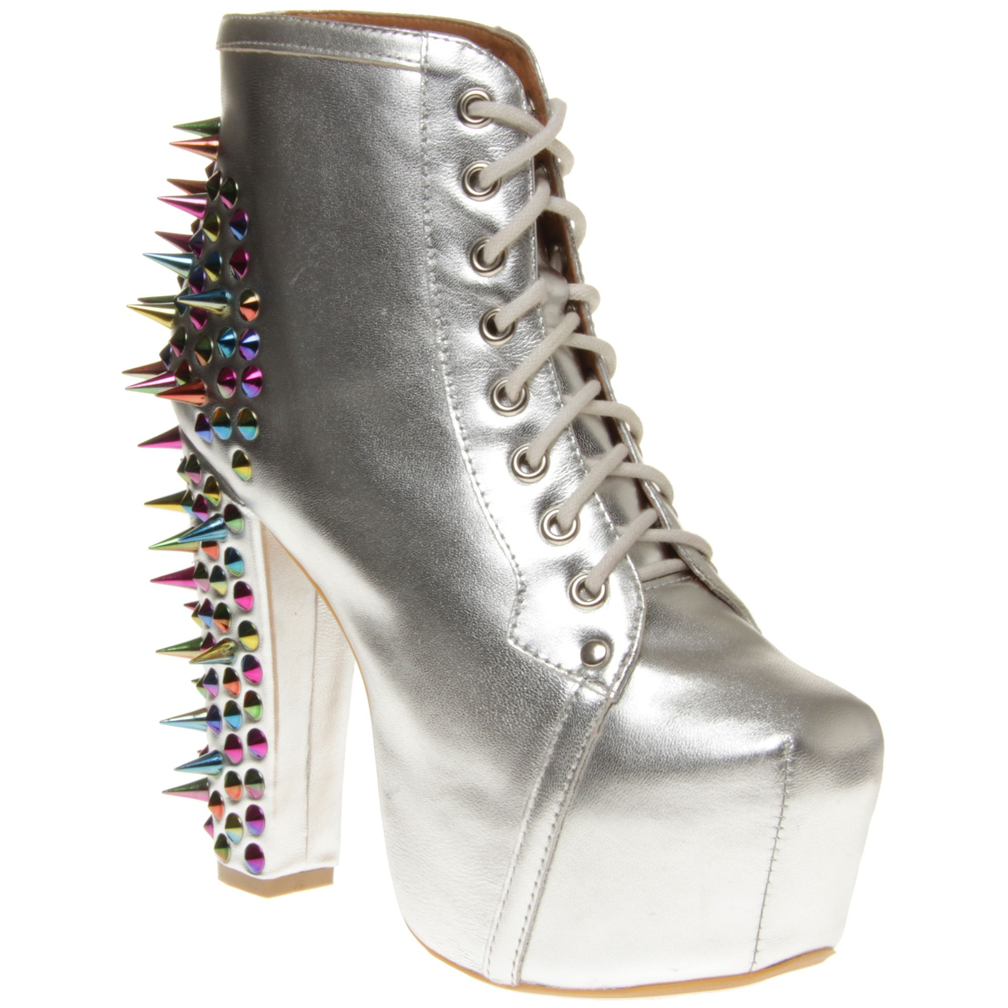 New Womens Jeffrey Campbell Metallic Lita Spike Leather Boots Ankle Lace Up | eBay
