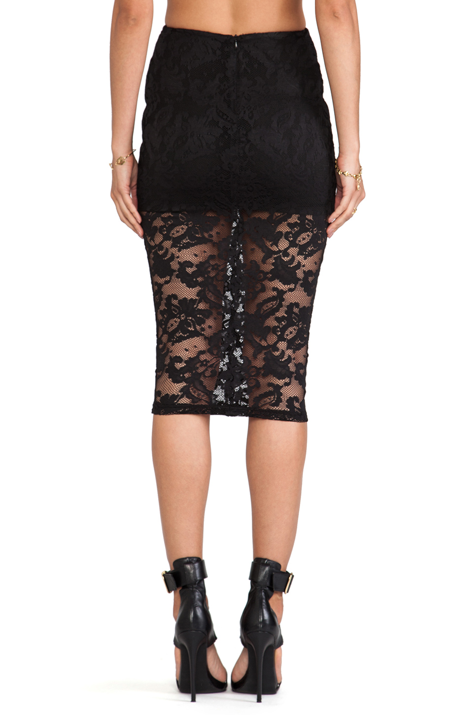 White Lace Pencil Skirt River Island
