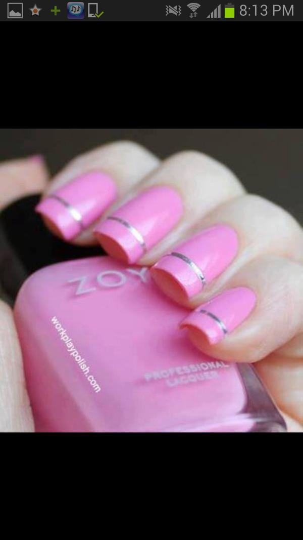 nail polish pink silver nails formal nail pilosh