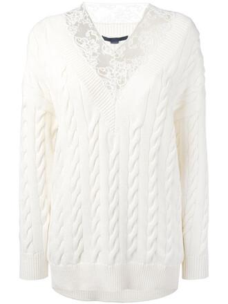 jumper women lace white cotton wool sweater