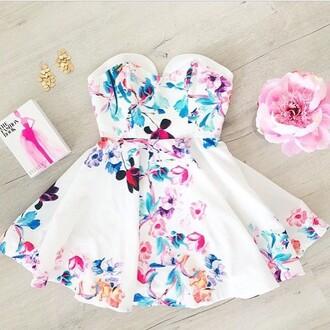 dress white dress blue dress flower design summer dress