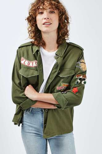jacket military style patch army green jacket