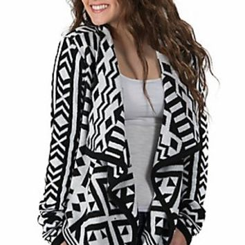 Western Connection® Women's White with Black Aztec Long Sleeve Sweater Cardigan on Wanelo