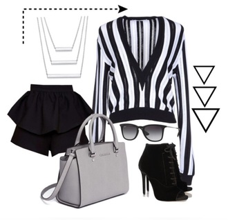 blouse black and white white black stripes sweater printed sweater shorts high waisted shorts grey silver silver necklace accessories black heels black shoes black high heels black boots little black boots